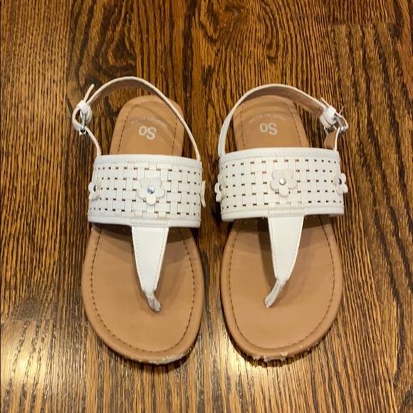 Shoes   So Big Girls White Sandals Sz 3